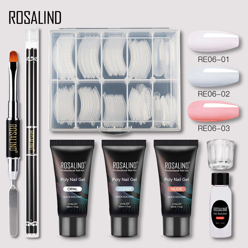 ROSALIND Poly Nail Gel Extension Nail Kit All For Manicure Gel Set Acrylic Solution Water Builder Gel Polish For Nail Art Design 12