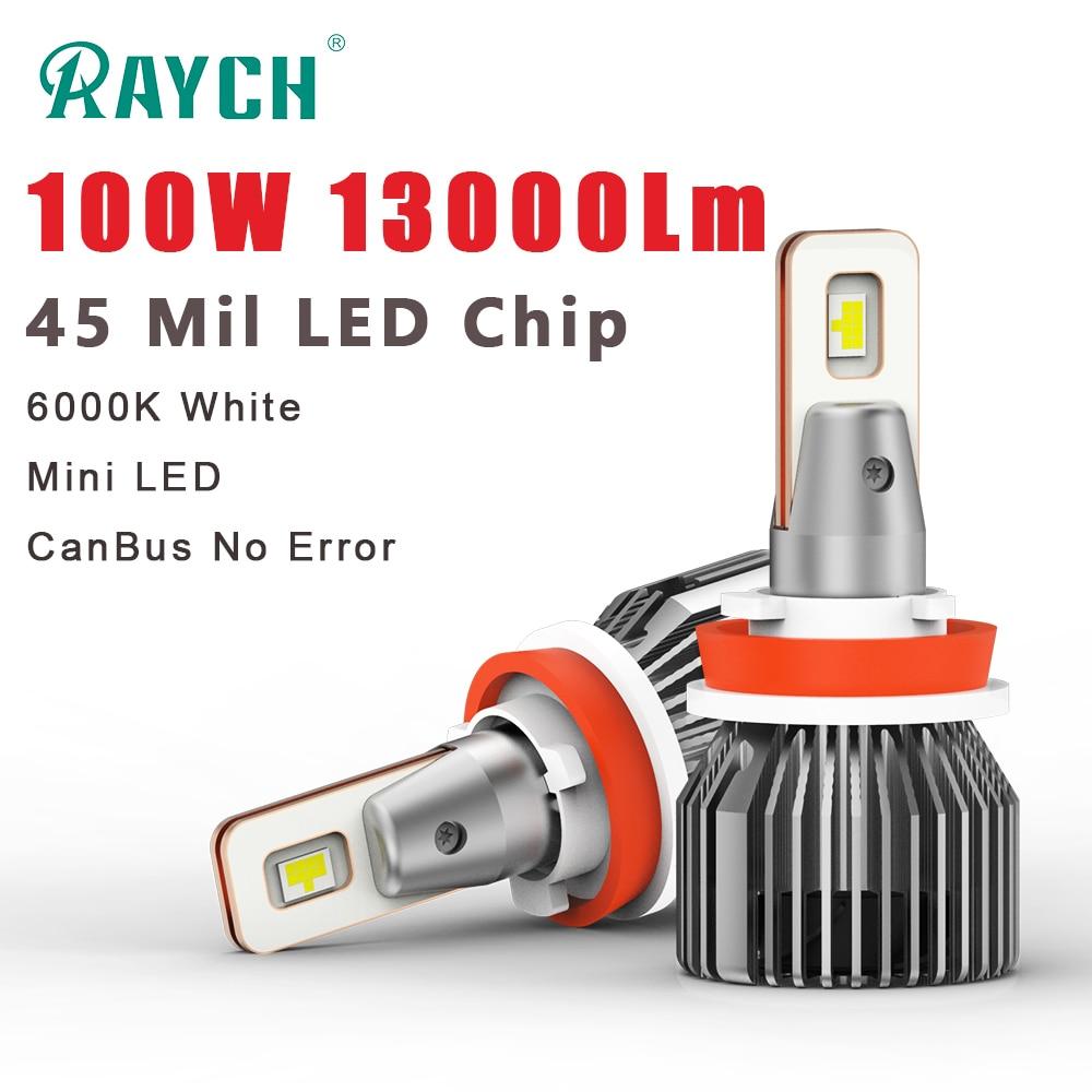 Raych LED faro per auto H7 H11 H4 faro a LED per auto a fascio alto/basso 9005 9006 lampadina per auto 100W 13000Lm 6000K CanBus bianco nessun errore