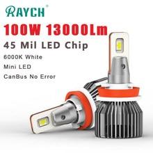 Raych LED reflektor samochodowy H7 H11 H4 wysokiej/martwa wiązka samochodowa przedni reflektor LED 9005 9006 żarówka samochodowa 100W 13000Lm 6000K biały CanBus nie błąd
