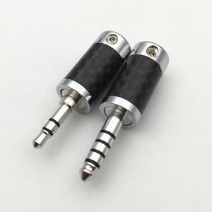 Image 5 - 4Pcs Rhodium Plated 3.5mm / 4.4mm 3 5 Pole Stereo Earphone Plug Carbon Fiber HiFi Headset  Audio DIY Jack Solder Connector
