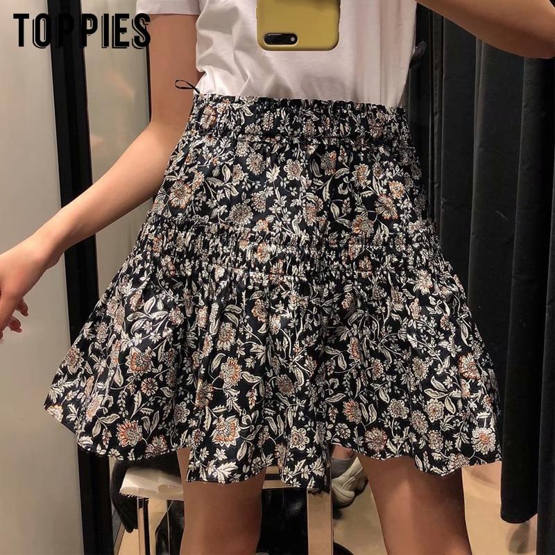 Summer Floral Printing Mini Skrits High Waist Skater Skirts Womens Sexy Saia Faldas Streetwear