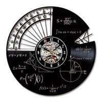 Math Theme Wall Clock Modern Design Retro Style Decorative Study Clocks Vinyl LP CD Record Wall Watch Home Decor Silent 12 inch