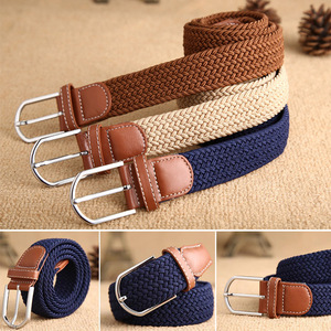 High Quality Fashionable Elastic Canvas Belts for Women Knitted Buckle Adjustable Belt Male Canvas Belts for Jeans 2020 NEW