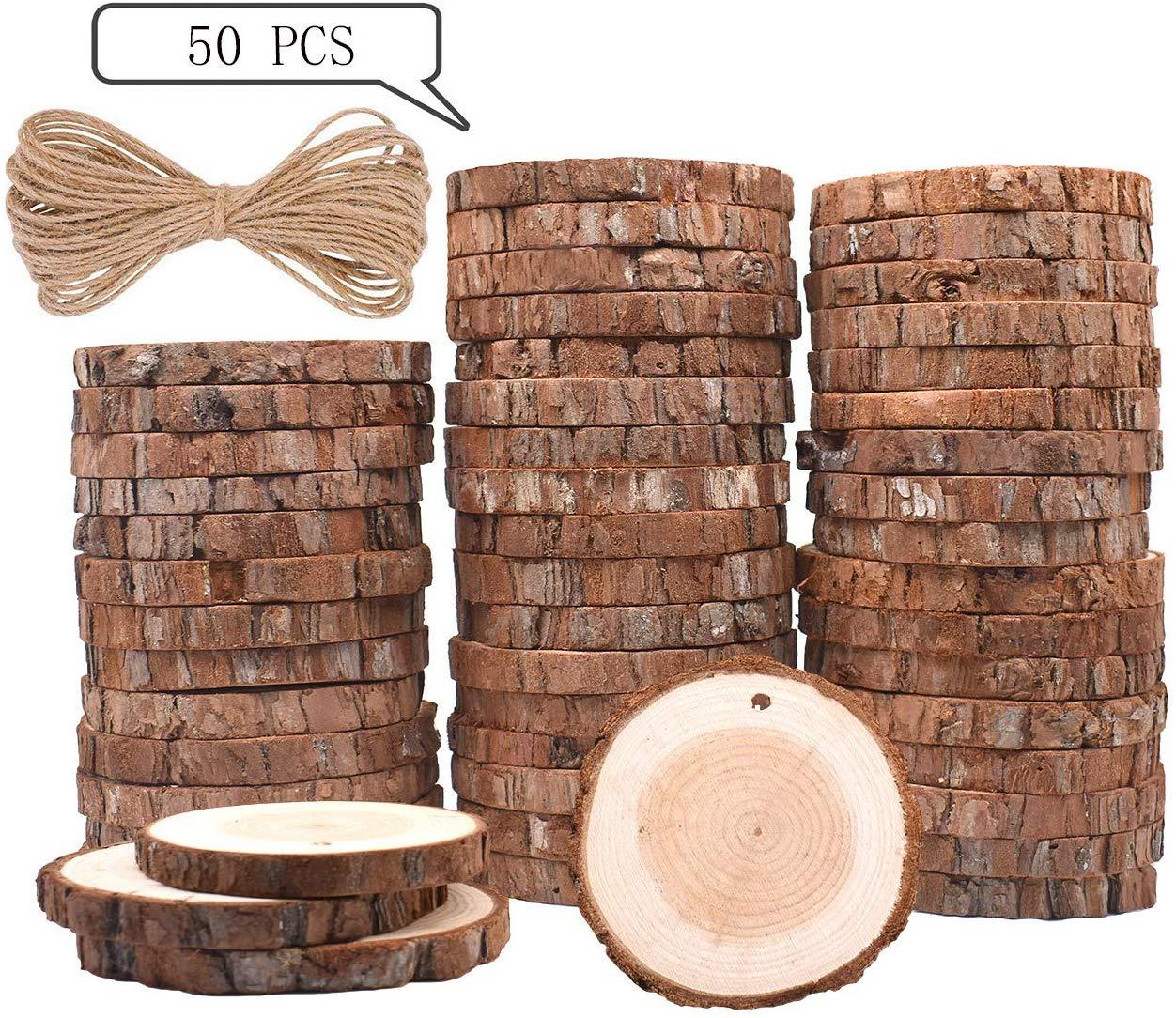 50 pçs fatias de madeira natural círculo redondo árvore casca log 2-7cm círculos de madeira para diy artesanato decorações de casamento enfeites de natal
