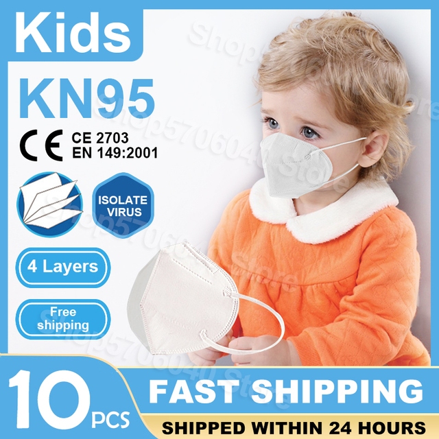$ US $30.00 10PCS FDA CE Certification KN95 Kids Face Mask 4 Layer Anti Infection N95 Child Mouth Mask Protective Mask For Baby Same as FFP2