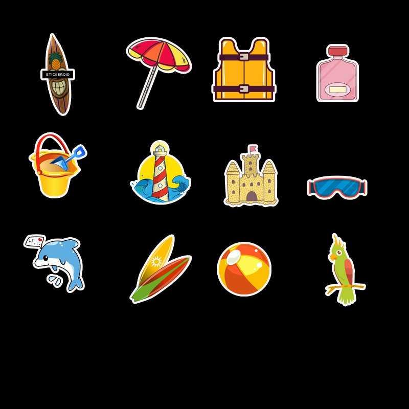 VSCO Kartun Stiker Pack Stiker Anak-anak Panda Dolphin Mainan Anak-anak Kartun Stiker Kehidupan Laut Skateboard Mainan untuk Anak 50 Buah/Banyak