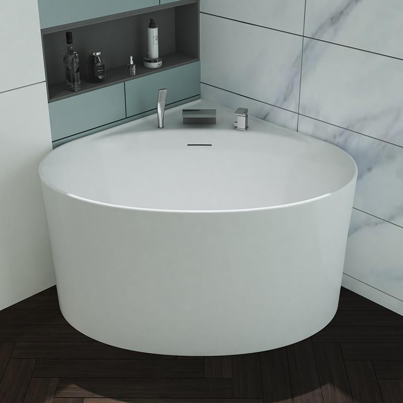 Aojin acrílico banheira pequena família triangular ventilador-em forma de canto doméstico 1000mm comum bacia de banheira independente-3