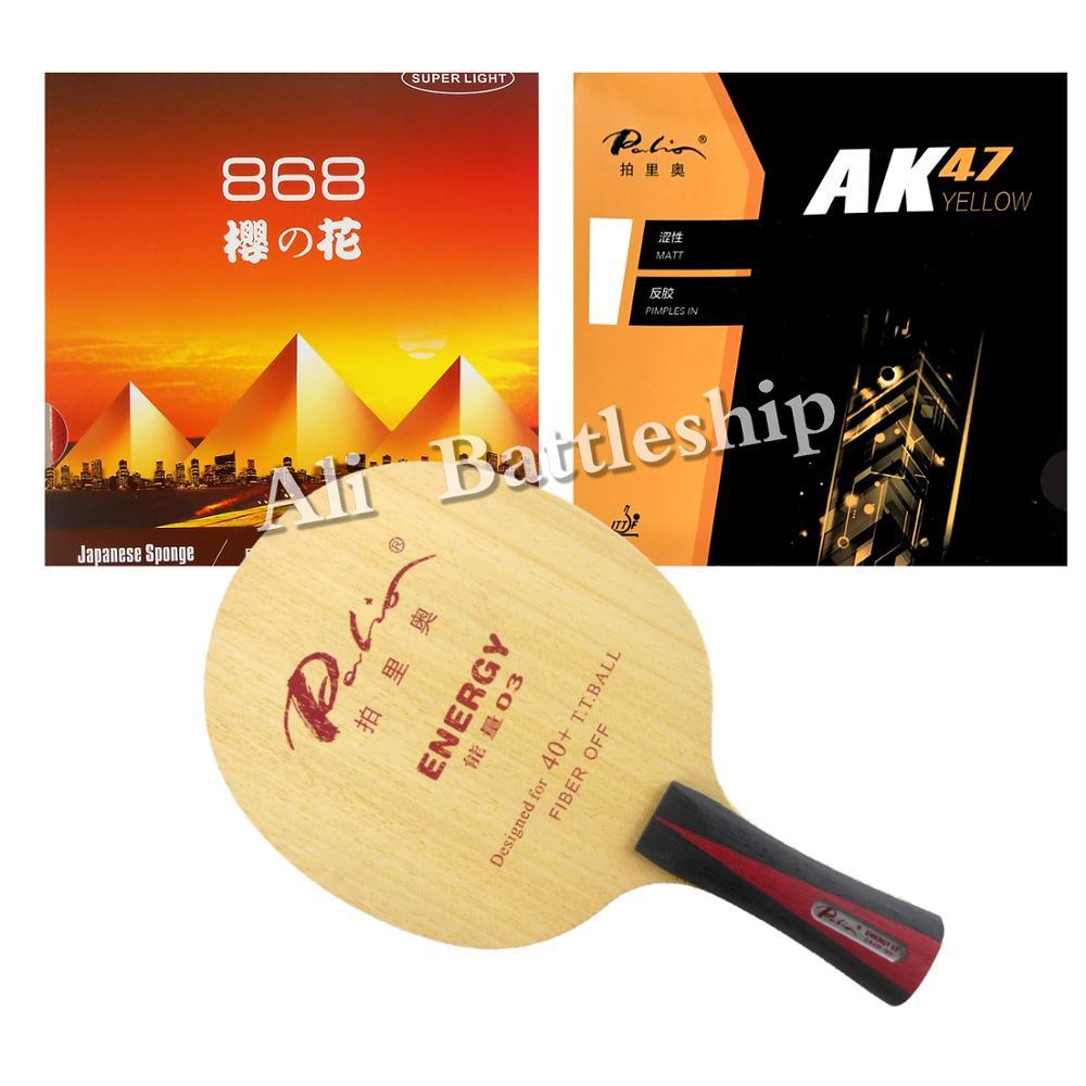 Pro Combo Racket Palio Energy03 Energy-03 Blade With  KOKUTAKU BLutenkirsche 868 And Palio AK47  YELLOW Rubber With Sponge