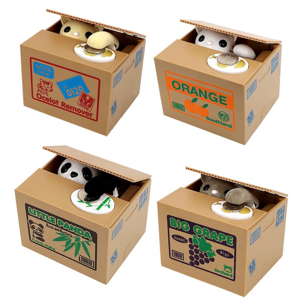 Gato panda roubar caixas de dinheiro moeda automática moeda mealheiro caixa de poupança de dinheiro moedas caixa de armazenamento crianças presentes de aniversário