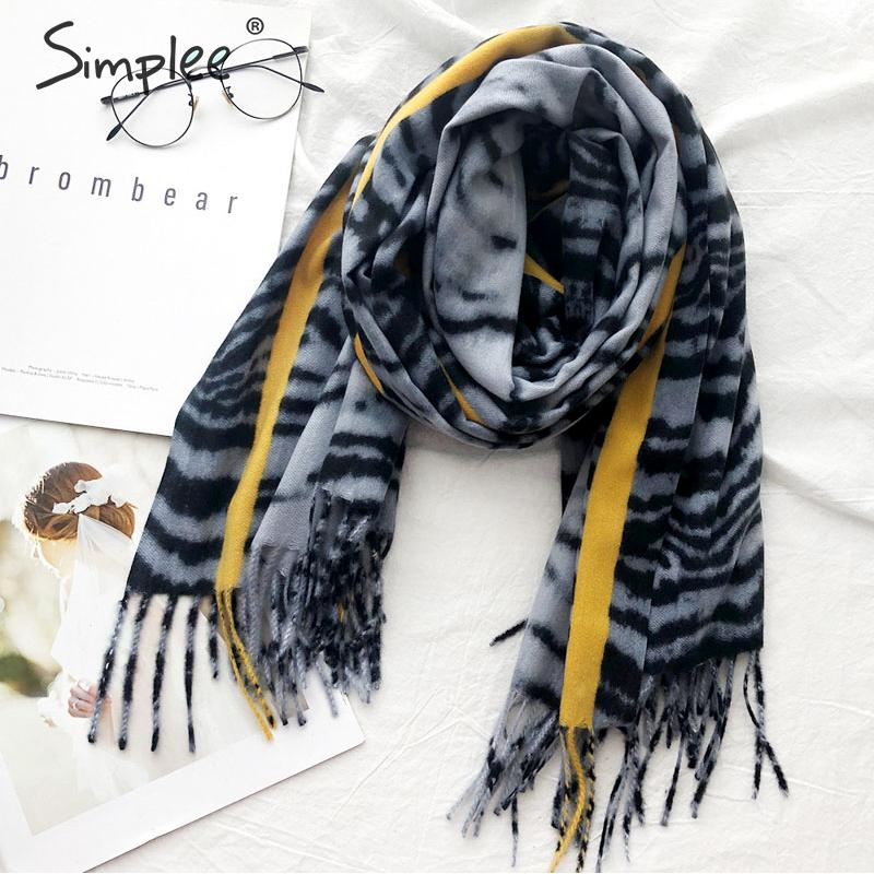 Simplee Warm Scarf Shawls Leopard Print Autumn Winter Thick Ladies Tassel Chic Casual