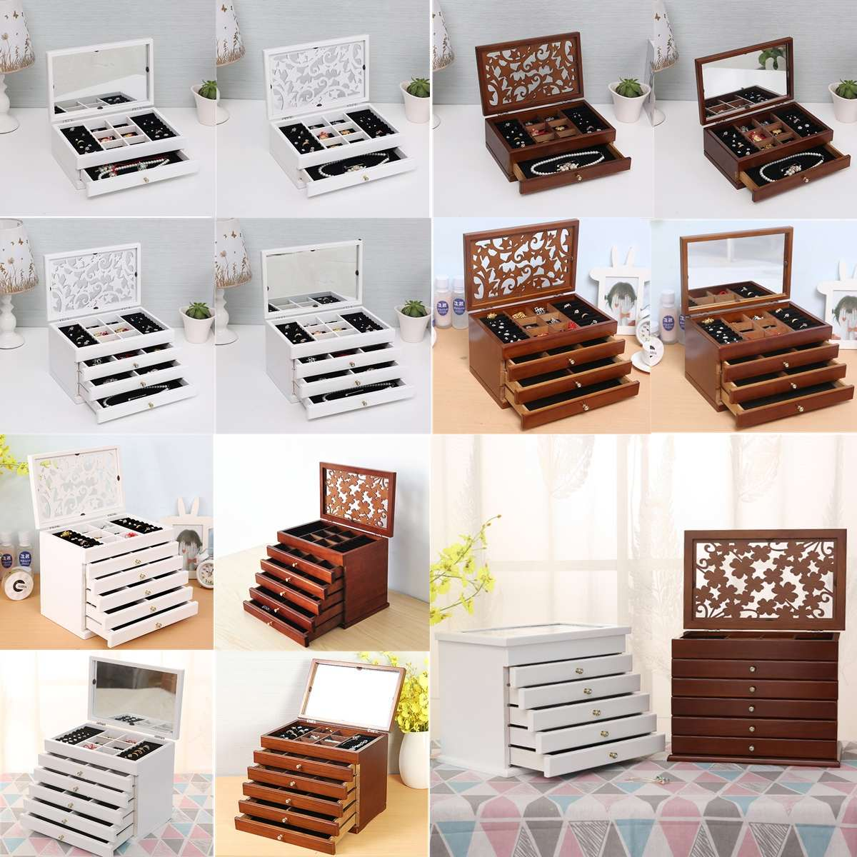 Jewelry Organizer Ring-Boxes Casket Wooden Multi-Layer White/brown Big