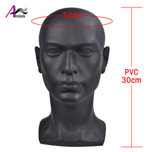Aiminda Black Male Mannequin Head With PVC Material For Wigs Hats Mask Headset Glasses Display Mannequin Dummy Manikin Head