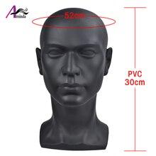 Aiminda siyah erkek manken kafa için PVC malzeme ile peruk şapka maskesi kulaklık gözlük ekran manken kukla manken kafa