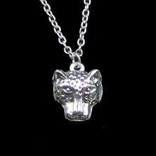 Collier tête de léopard panthère 19x15mm, pendentif court et Long fait à la main pour femmes et hommes, bijoux cadeau à la mode, 20 pièces