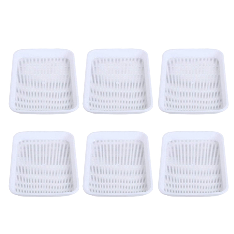 6 Sets Double-Layer Sprouter Nursery Tray Seed Pots Hydroponics Basket Flower Plant Germination Tray Box ,White Inner Plate