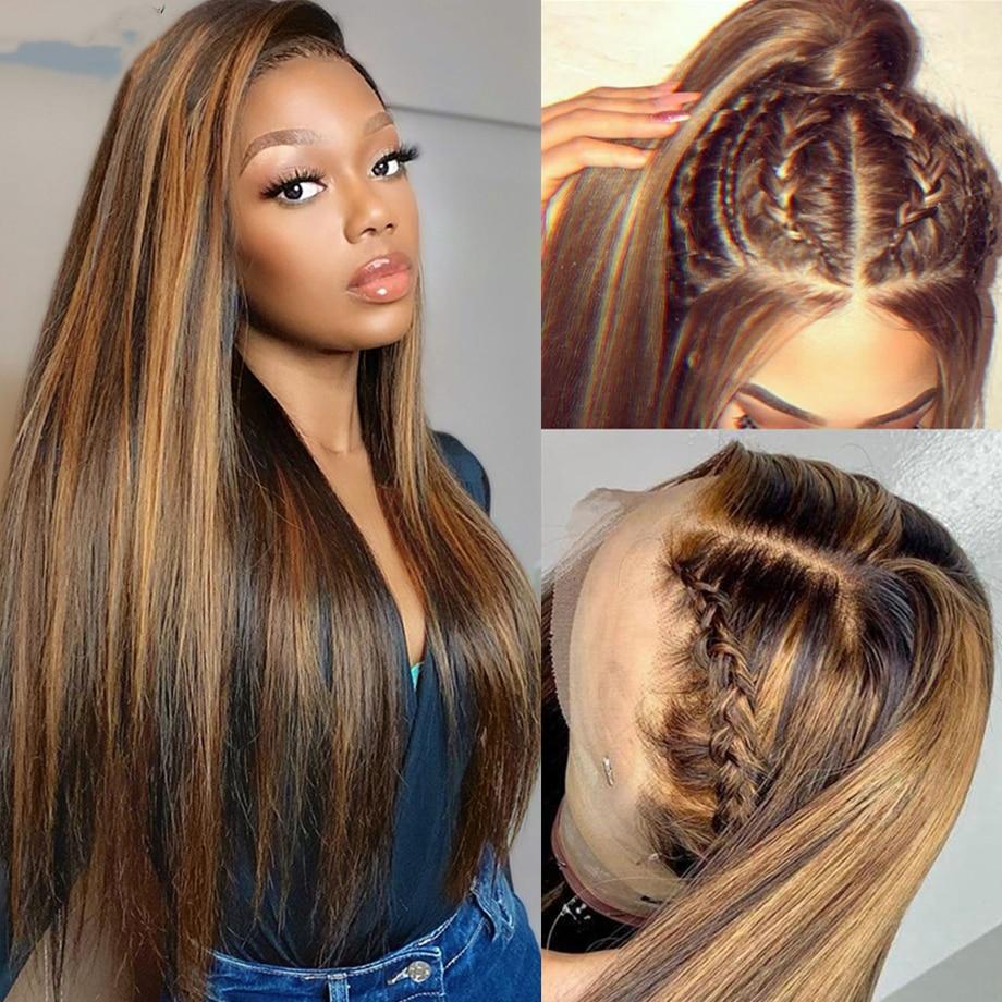 Mettre en évidence les perruques de cheveux humains miel Blonde dentelle avant perruques pour les femmes Ombre os droite cheveux brésiliens T partie Hd dentelle frontale perruque
