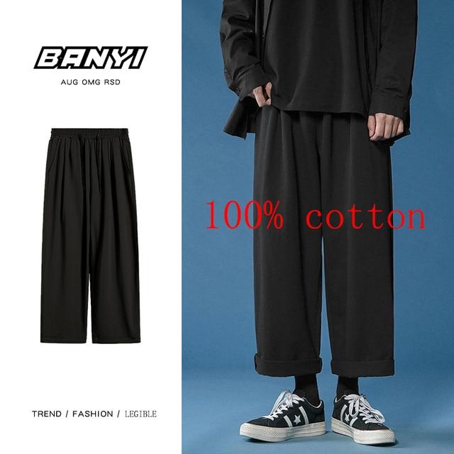 Legible 2021 Women Pant Casual Cotton Wide Leg Pants Retro Ankle Length Elastic Waist Loose Trousers Female 4