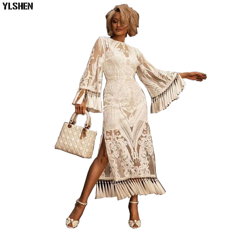 African Lace Dresses For Women In Clothing Basin Riche African Clothes Sexy Fashion Tassels Maxi Dress Woman Africa Dress Boubou