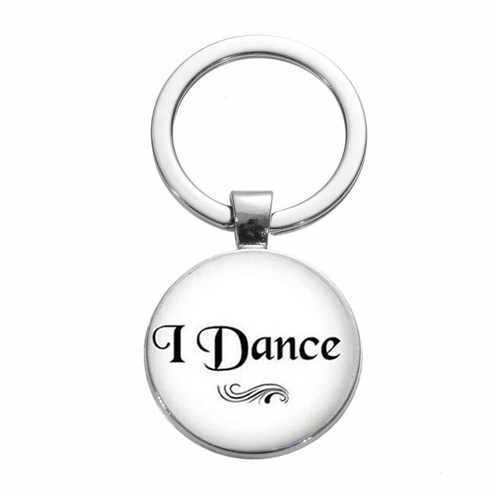 SONGDA di Modo Ballerino di danza classica Ballerina Ragazza Portachiavi I Love Dance Citazione di Fascino Della Catena Chiave Silhouette Art Photo Cupola di Vetro Chiave anello