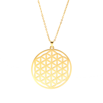 Collier pendentif fleur de vie argent e dor e bijou en acier inoxydable creux la mode