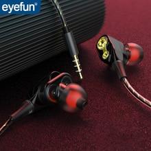Eyefun fone de ouvido com fio fone de ouvido fone de ouvido fone de ouvido com fio auriculares in ear fone de ouvido estéreo com fio duplo anel em movimento