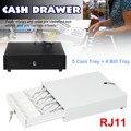 Тяжелый денежный ящик с 5 лоток для монет 4 Билл лоток RJ11 ключ три-механизм блокировки белый/черный съемный денежный ящик для супермаркета
