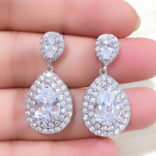 UILZ Classic Water Drop Cubic Zircon Women Drop Earrings Pear Cut Bride Wedding Jewelry UE2156 недорого