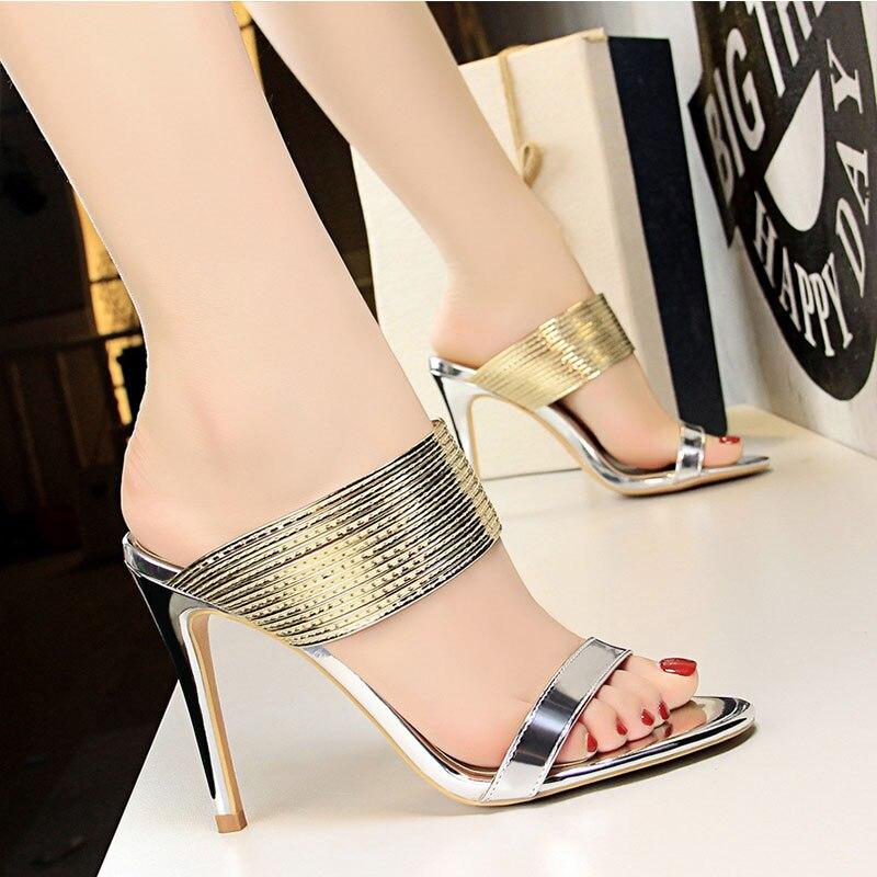 Zapatillas de tacón alto sexy retro de moda Zapatillas de tacón alto con correa metálica zapatos de mujer salvajes de 10cm de tacón alto transpirables FC-08 Zapatillas de piel