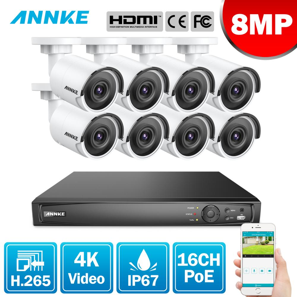 ANNKE 16CH 4K Ultra HD POE Network Video Security System 8MP H.265 NVR With 8X 8MP 30m EXIR Night Vision Weatherproof IP Cameras