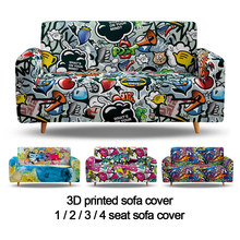 Hip Hop Sofa Cover stretch Angle Printed Graffiti Elastic Couch Cover Case for Corner Sectional Sofa 1 2 3 4 Seater Slipcover