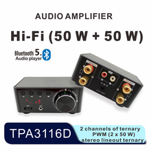 HIFI Bluetooth 5.0 Digital Power Audio Amplifier board 50WX2 Stereo AMP Amplificador Home Theater USB TF Card Player
