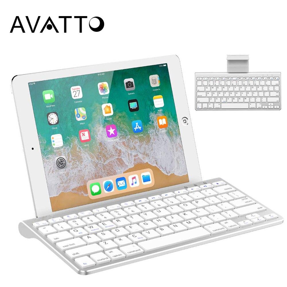 AVATTO 78 Tasten Ultra Slim Bluetooth 3,0 Wireless Mini Tastatur mit Ständer Halter für Tablet ipad iphone Desktop Laptop PC