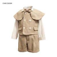 Trajes de algodón para niño trajes de bebé varones 2020 Chaleco de doble botonadura mantón corto conjunto de traje de 3 uds. Esmoquin niño Formal vestido de boda de cumpleaños