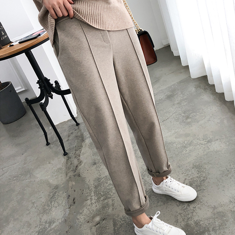 Winter Plus Size Wool Female Work Suit Young girl Pants Loose Female Trousers Capris Thicken Women Pencil Pants 2020 Spring 921F