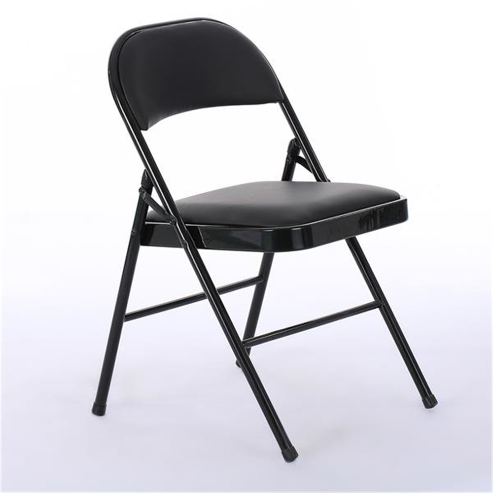 Hot Sales 6pcs Elegant Foldable Iron & PVC Chairs For Convention & Exhibition Black Chairs With Soft PVC Cushion And Backrest