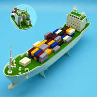 1/500 Scale Model Ship Electric Powered Containeliner With Electric Motor Driving Assembly For Dock Marine Transportation Layout