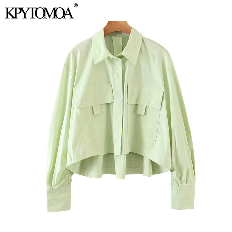 KPYTOMOA Women 2020 Fashion Oversized Pockets Cropped Blouses Vintage Lapel Collar Long Sleeve Female Shirts Blusas Chic Tops