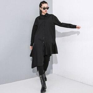 Image 4 - [EAM] Women Black Asymmetrical Pleated Long Blouse New Lapel Long Sleeve Loose Fit Shirt Fashion Tide Spring Autumn 2020 1N202