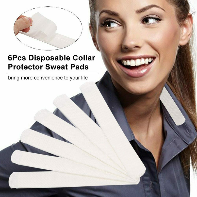6Pcs Collar Sweat Pads Invisible Absorbent Sweat Stain Odour Disposable Deodorant Hats Neck Liner J55