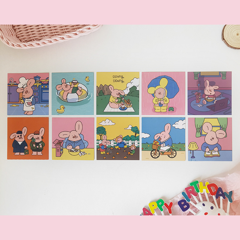 SIXONE 10 Sheets Ins Cute Piggy Series Decoration Postcard Student Bookmark Double-sided Metope Background Card Photograph Prop