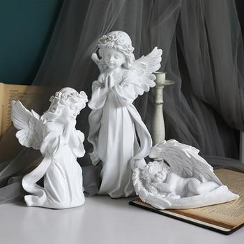 Figuras de hadas en miniatura de Ángel de resina para decoración del hogar, accesorios para sala de estar, figuritas de estilo europeo, recuerdos, regalos de navidad