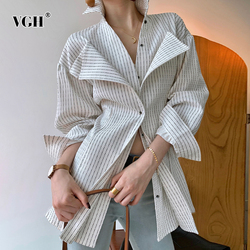 VGH Casual Striped Blouse For Women Lapel Long Sleeve Side Split Large Size Temperament Shirt Female Fashion New Clothing 2020