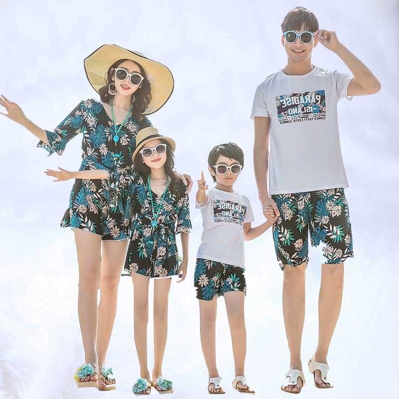 2019 mère fille correspondant robes maman maman fille robe papa fils tenues été famille vêtements ensembles correspondant maillot de bain