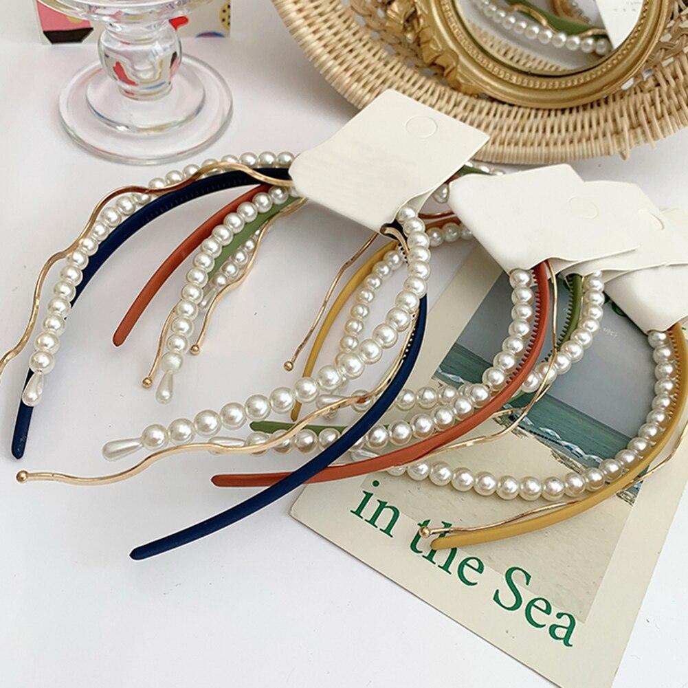 3 pièces/ensemble perle bandeau combinaison mignon bonbons couleur bandes de cheveux femmes filles vague métal cheveux cerceau mode cheveux accessoires