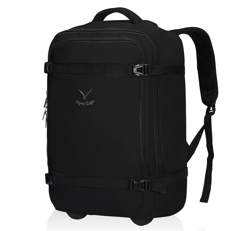 Hynes Eagle Brand Designer 42L Rolling Backpack Waterproof Wheeled Backpack Luggage Travel Backpack Black Daily Casual Daypacks