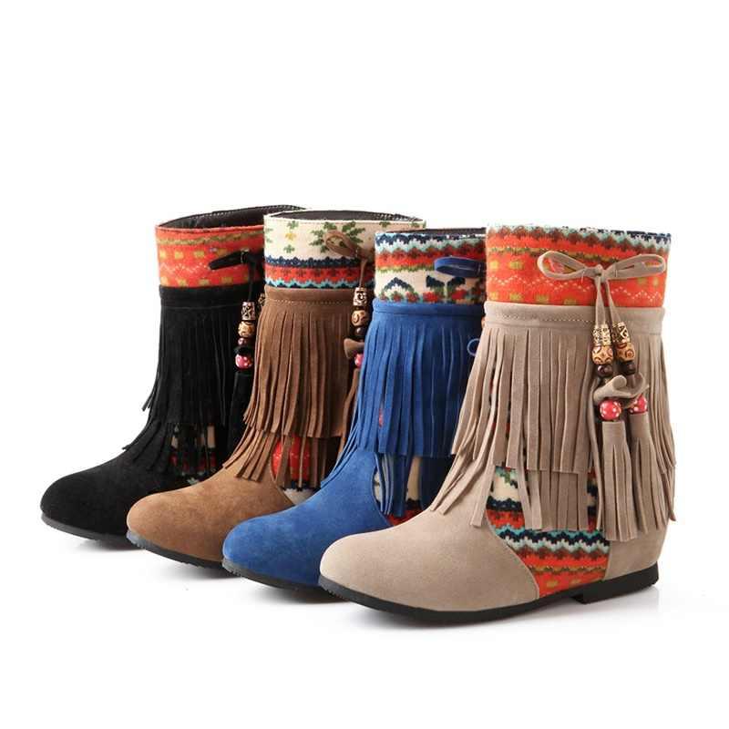 EGONERY kış yeni rahat yarım çizmeler dışında sıcak rahat orta topuklu yuvarlak ayak saçak kadın ayakkabı damla nakliye boyutu 34- 39