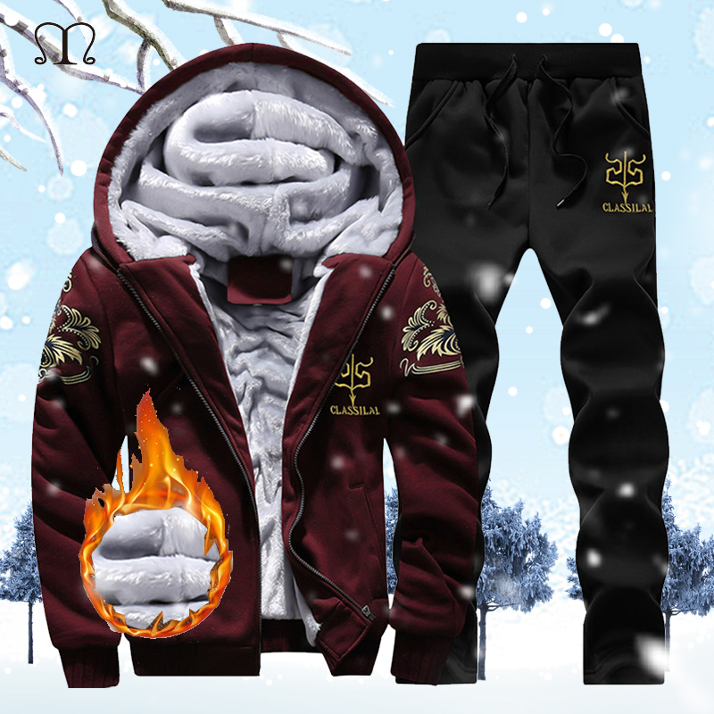 2 Pieces Sets Tracksuit Men New Brand Autumn Winter Thick Hooded Sweatshirt Coat+Pants Male Outfit Sportswear Set Chandal Hombre