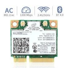 Carte sans fil double bande pour Intel 7260, 7260hmw ac Mini pcie, wi fi 2.4/5Ghz, Bluetooth 4.0/802 ac/a/b/G/n, avec antenne