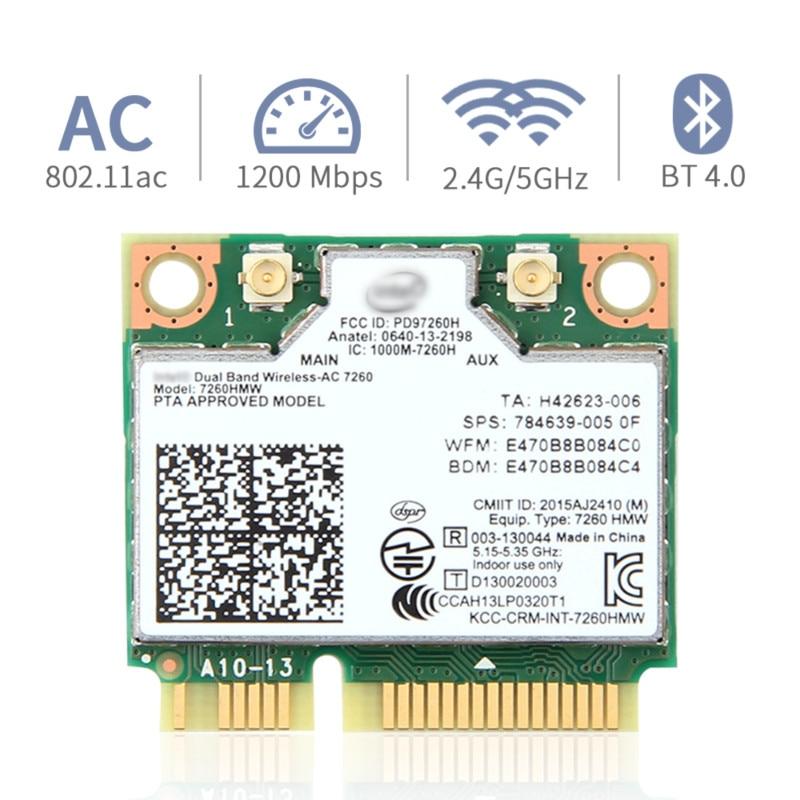 Двухдиапазонная беспроводная карта для Intel 7260 7260HMW ac Mini PCI-E 2,4G/5Ghz Wlan ноутбука Bluetooth 4,0 802,11 ac/a/b/g/n с антенной