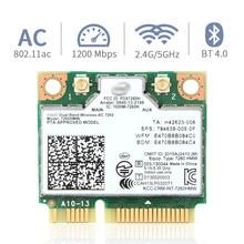 Tarjeta inalámbrica de doble banda para Intel 7260 7260HMW ac Mini PCI E 2,4G/5Ghz Wlan Wifi Bluetooth 4,0 802.11ac/a/b/g/n con antena